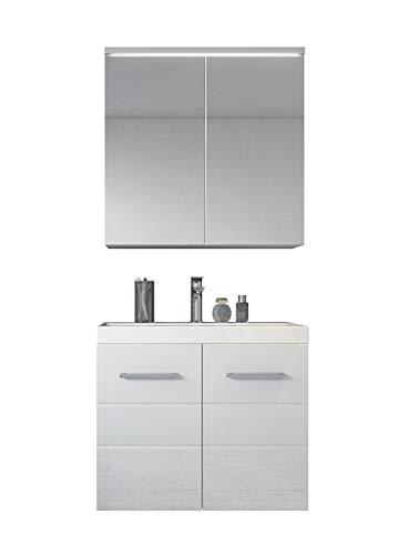 Badezimmer Badmöbel Toledo 02 60 cm Waschbecken Hochglanz Weiß - Unterschrank Schrank Waschbecken Spiegelschrank Schrank (Led Waschbecken Kopf)