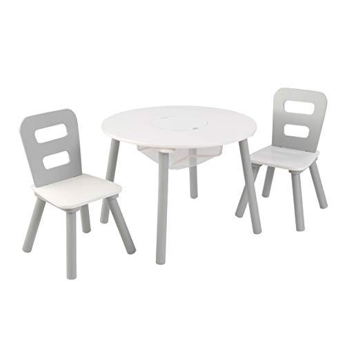 KidKraft 26166 Runder Tisch mit Stauraum und 2 Stühlen aus Holz für Kinder in grau & weiß - Kinderzimmer Möbel