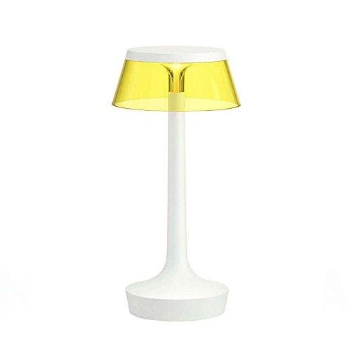 Flos Bon Jour Unplugged Lampe de table portable rechargeable avec structure blanche et abat-jour jaune 220 Volt