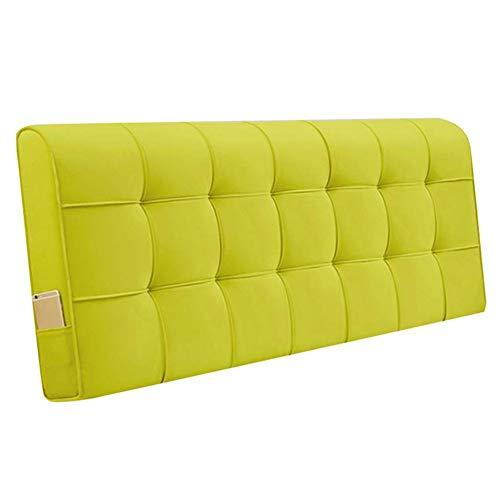 QIANCHENG-Cushion Kopfteil Kissen für Bett Rückenlehnen Bedside Rückenlehne Wandkissen Entlastung der Taille Klettverschluss, 11 Farben, 6 Größen (Color : Yellow, Size : 200cm)