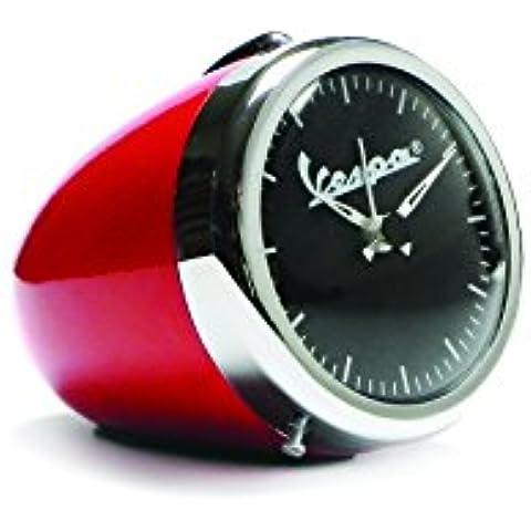 Reloj de mesa, con despertador, forma de faro de vespa, estilo vintage, rojo, 70mm de diámetro