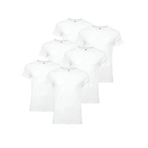 LEVIS Herren 6 Pack - Unterhemden, T-Shirt Rundhals oder V-Neck, Kurzarm, (3x2er Pack) Weiß (Rundhals)