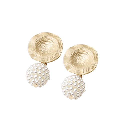 UINGKID Damen Ohrringe Mode Ohrstecker Netzwerk rot Metall unregelmäßig geformte Perlen geometrische kreative