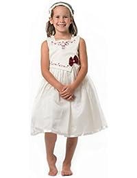 MGT-Shop Mädchen Kinderkleid Blumenkinderkleid Blumenmädchenkleid Blumenmädchen Taufkleid ST2012