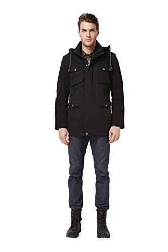 Colorfulworldstore Lange Herren-Winterjacke, mit Samt und Baumwolle, Kapuze und mehreren Taschen, dick, warm Schwarz