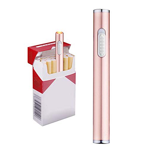Auratrio Mini USB Elektronisches wiederaufladbar Feuerzeug Stabfeuerzeug Winddicht und Flammenloses, Kein Gas oder Benzin, Rosa Gold