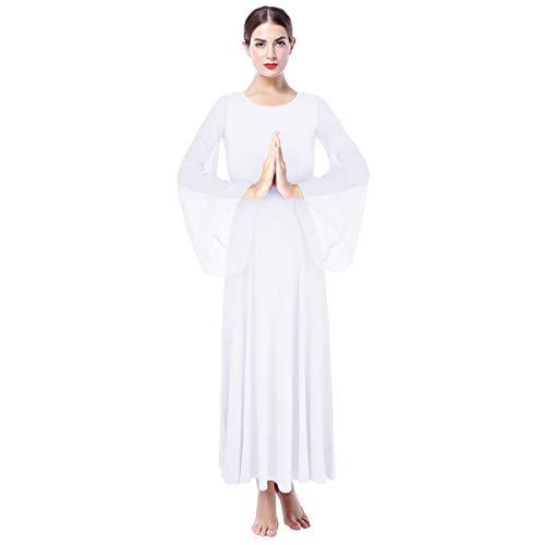 23e4d8dc4443 Donna Vestito Liturgico Manica Lunga Abito da Balletto Ginnastica Classico  Danza Combinazione Costume OBEEII 001 Bianco