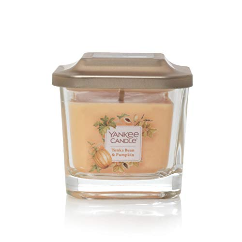 Yankee Candle Company Elevation Collection with Platform Lid, Small 1-Wick Square Candle| Tonka Bean & Pumpkin