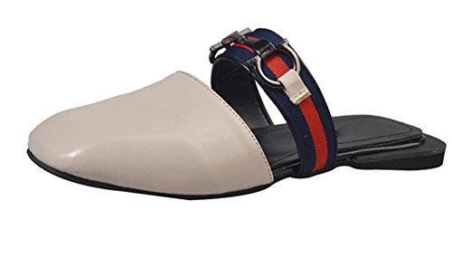 Sapatos Antiderrapantes Meio Cabeça Com Flat Chinelos Bege Uma Mulheres Força E Desenhar Quadrada Sandálias B67qnO