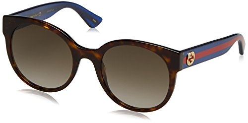 Gucci Damen GG0035S-004 Sonnenbrille, Braun (Havana/Azul Con Purpurina/Rojo), 54