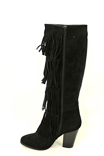 Mesdames Frange Femme Bottes Genou Talons en daim synthétique Zip Chaussures en cuir Taille 345678 Black (404)