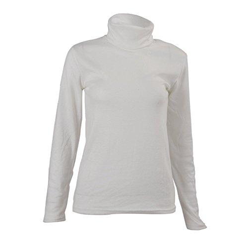 SODIAL (R) Moda Autunno Inverno maglione dolcevita shirt fantasia tinta unica Pullover da uomini bianco