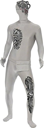 Smiffys, Herren Second Skin Roboter Kostüm, Ganzkörperanzug und Bauchtasche, Größe: L, (Kostüm Für Erwachsene Cyborg)