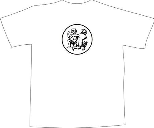T-Shirt E1053 Schönes T-Shirt mit farbigem Brustaufdruck - Logo / Grafik - Comic Design - ornament mit kämpfenden Zwillingen Weiß