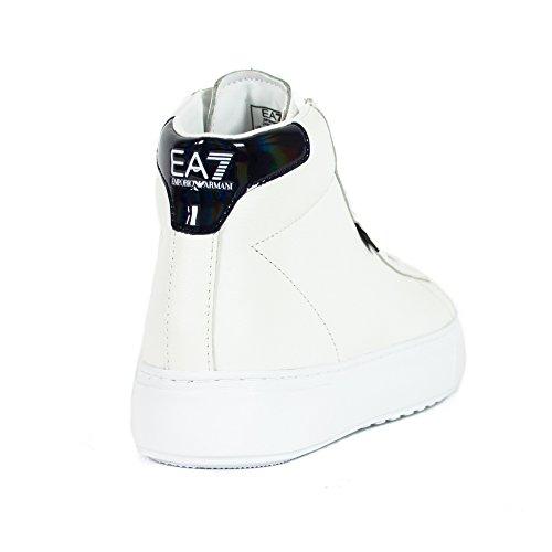 Emporio Armani Ea7 Baskets Montantes Pour Hommes En Cuir Blanc De Style Classique Bian