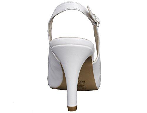 MaxMuxun Donna Scarpe Col Tacco Pumps Nuziale Sandali Bianco