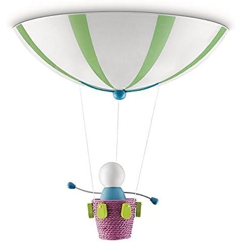 Philips myKidsRoom Monty, Plafón - multicolor, luz blanca cálida (incluye 2 bombillas fluorescentes casquillo E27, 20