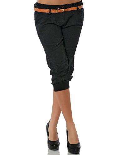 Damen Chino Capri Hose inkl. Gürtel (weitere Farben) No 13235, Größe:S / 36;Farbe:Schwarz