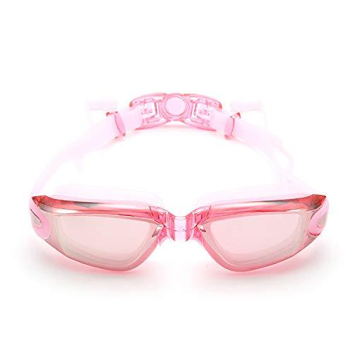 Yiph-Sunglass Sonnenbrillen Mode Neue Galvanik flaches Licht Myopie Schwimmbrille großen Rahmen wasserdicht und beschlagfrei verbunden Männer Frauen (Color : Pink)