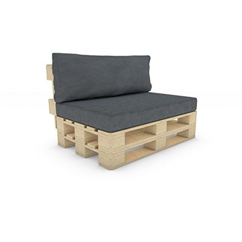 MSS® Palettenkissen Sitzkissen+Rückenkissen Palettensofa Palettenmöbel Kissen Palette Sofa Couch in Anthrazit