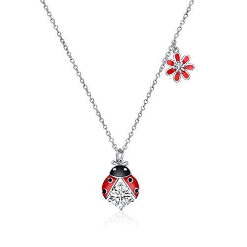 YFN Sterling Silber Marienkäfer Halskette Blume Zirkonia