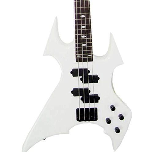 CE-LXYYD 24 Pin Skorpion Totem E-Bass, fortgeschrittene professionelle Rock Mode Anfänger Studenten, Männer und Frauen Zupfinstrumente, geeignet für Partykonzerte,White (Ballade De Männer)
