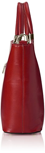 CTM Borsa da Donna Classica, 36x27x12cm, Vera pelle 100% Made in Italy Rosso