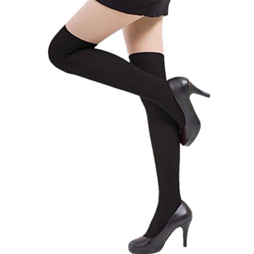 Loveso- Socken Strumpf Frauen-Mädchen arbeiten Opaque über Knie-Schenkel-hohe elastische Socken New (Schwarz)