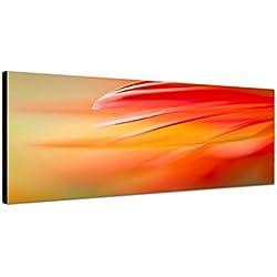 Wandbild auf Leinwand als Panorama in 120x40 cm Gerbera Blütenblätter in rot orange Großaufnahme abstrakt