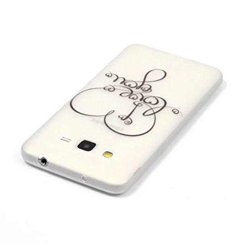 ARTLU® 3 in 1 Weich TPU Hülle für Samsung Galaxy Grand Prime G530 Flexible Soft Back Case Leuchtende Nacht Fluoreszierende Grün in der Dunkelheit Eiffelturm Schlank Schutzhülle Silikon Handyhülle Glat A7