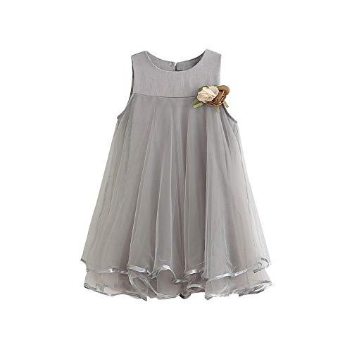 MOIKA Baby Mädchen Kleider, (3-7 Jahre) Neugeborene Kleinkind Mädchen Chiffon Kleider ärmellose Blume Drapieren Kleid + Brosche