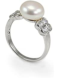 Bonita pulsera de plata de ley, perla de agua dulce y Zirconia anillo.