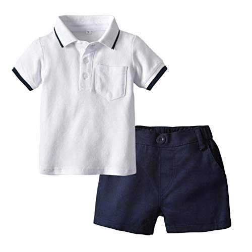 Infant-Baby-Boy-Gentleman-Anzüge-Kurzarm-Shirt-Shorts-Outfit-Set,Kinder-Kurzarm-Revers-Gentleman-Polo-Tops-Set, ()