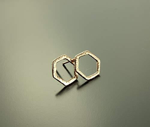Ohrstecker Hexagon Sechseck geometrisch rosé gold Ohrringe Stecker