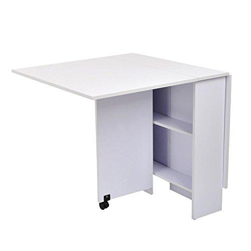Outsunny homcom tavolo pieghevole scrivania in legno bianco con ruote
