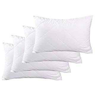 Adam Home Premium Pillows with Quilted Cover (4 Pack, Standard) - Filled Pillows for Side, Stomach and Back Sleeper-Hotel Quality, Down Alternative Bed Pillow-Soft Hollow-fiber Filled Sleeping Pillows