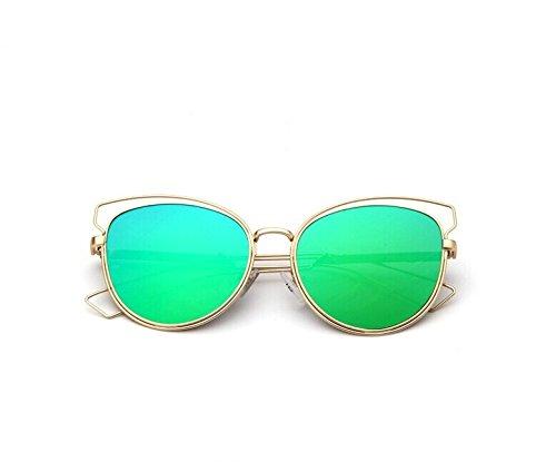 YHW-GLASSES-0813 Gläser Metallrahmen Cat Eye Sunglasses Fashion Round Frame Stilvolle Sonnenbrillen für Frauen und Männer YHWCUICAN (Lens Colour&Frame Colour : Gold Frame Green Mercury+Gold Box)