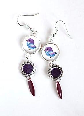 Boucles d'oreilles bleu violet, inspiration nature, petite oiseau, naïf, bleu violet