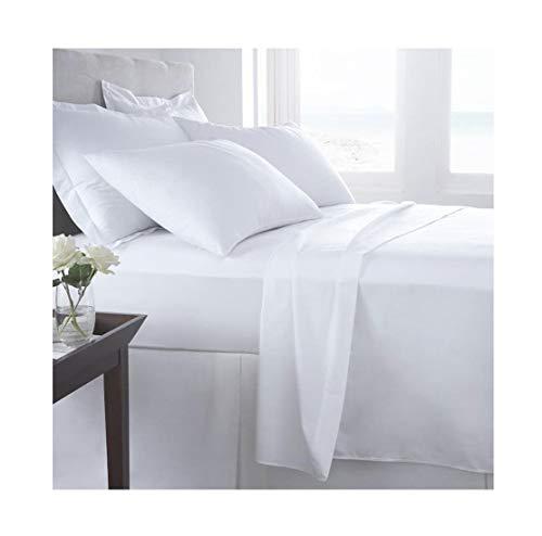 Islander Fashions T400 �gyptische Baumwolle 400 Fadenzahl Bettbezug-Bettwaren ausgestattetes Flachbettw�scheset (wei�es Flachfellenset) Einzel