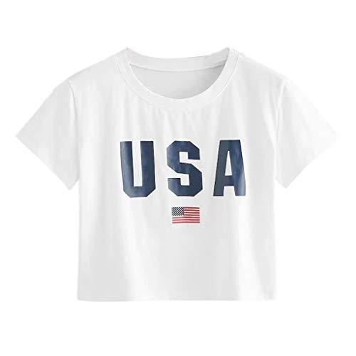 T-Shirts für Damen Bauchfrei, Subfamily Frauen Usa Flagge Drucken Tops Sommer Sport Freizeit Rundhalsausschnitt Kurzarm Oberteile LäSsiges Locker Kurz Nabel Tunika (S, Weiß 7494)