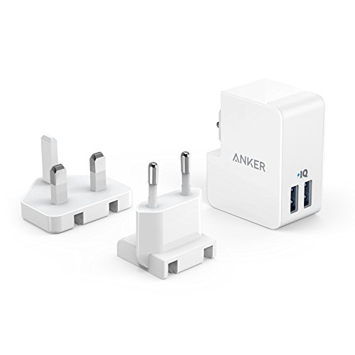 Anker PowerPort 2 Lite (17W) 2 Port USB Reise Ladegerät mit Austauschbarem UK und EU Reiseadapter mit Power IQ für iPhone 8/8 Plus / 7 / 6s, iPad Air/Mini, Samsung Galaxy/Note, LG, usw. (Weiß) - Ladegerät Uk