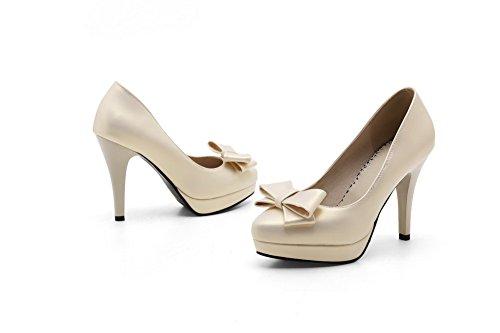 VogueZone009 Donna Tirare Tacco Alto Luccichio Puro Scarpe A Punta  Ballerine Oro ...
