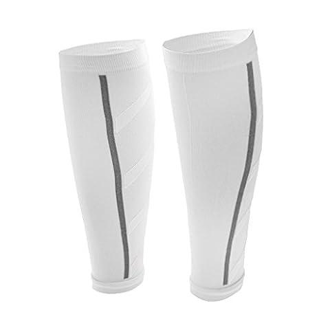Unisex Leg Compression Sleeves Calf Leg Shin Splints for Running Athletics Basketball Training - 7 Colors - White,