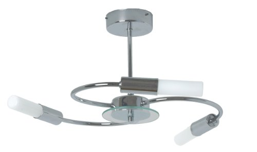 Tp24 Low Energy Taipei 3 Arm Ip44 Rated Ceiling Light In Chrome And Glass (Chrome Finish Low Energy)