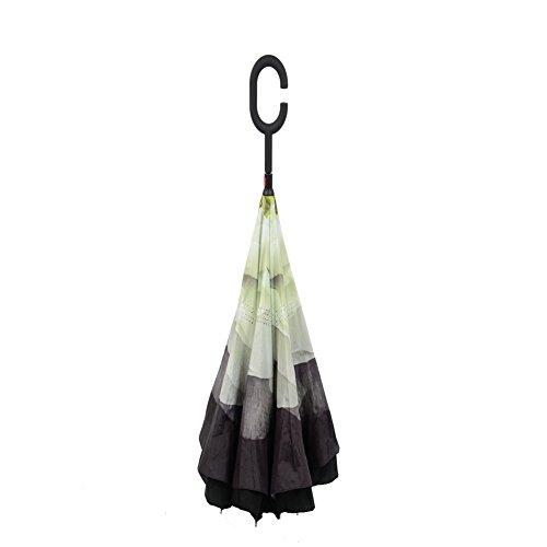 MYC Yi Lian inverso pieghevole doppio strato invertito Umbrella anti-UV e ombrelloni e la pioggia con le mani a forma di C-libera della maniglia, le migliori compatto da viaggio Ombrello per l'auto (bianca)