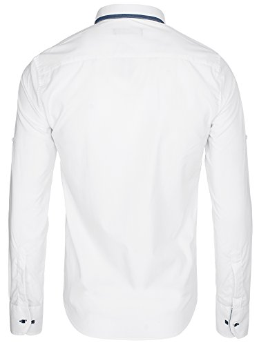 OZONEE Herren Klassisch Hemd Freizeithemd Langarm Shirt Casual Slim Fit RAW LUCCI 781K Weiß
