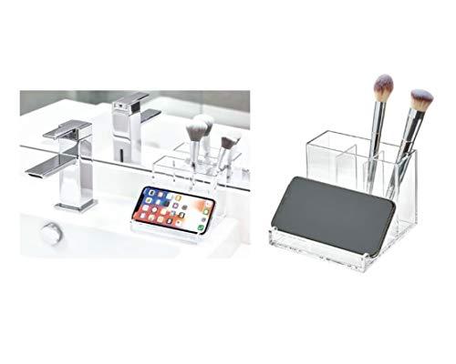 Idesign clarity porta trucchi per il lavandino, organizer makeup con diversi scomparti, portaoggetti bagno in plastica per pennelli, ombretti, rossetti e molto altro, trasparente, 12,7 cm x 10,2 cm