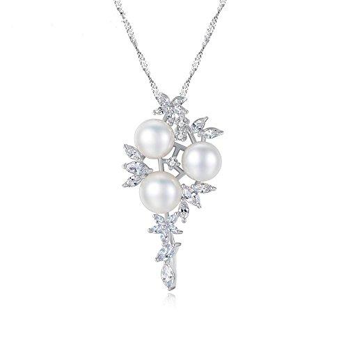 Haixin S925 argent Sterling collier naturel d'eau douce perles antiallergique s925 argent sterling collier chaîne longueur 40 cm + 5 cm