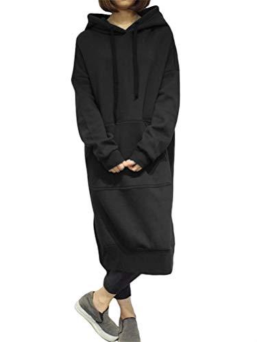 Split Fleece Hoody (ShallGood Damen Hoodie Langarm Sweatshirt Lose Lange Sweatkleid Langarm Hoodies Casual Herbst Kleid Split Warme Hoodies Lang Tops Oversize Coat Mit Kapuze Schwarz DE 44)