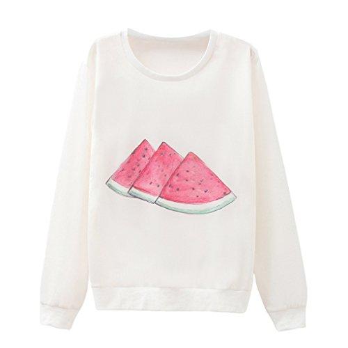 Frauen Gelassenheit Wassermelone Pullover Hand Zeichnung Lockere Passform Reiner Sweatshirt (Batwing Scoop Sleeve Neck)